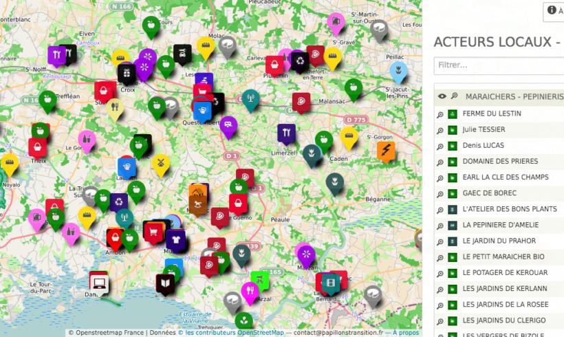 Papillons-Transition : carte des acteurs locaux